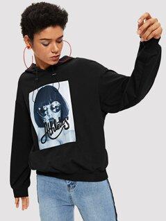 Figure Print Drawstring Neckline Sweatshirt