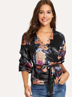 Knot Front Floral Print Top