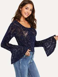 Bell Cuff Flocked Damask Top