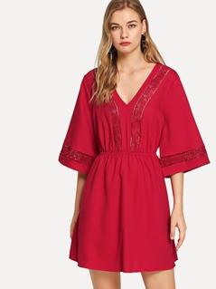 V Neck Floral Lace Insert Dress