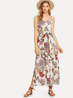 Self Belted Floral Cami Dress