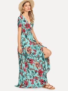 Flower Print V Neck Buttoned Dress