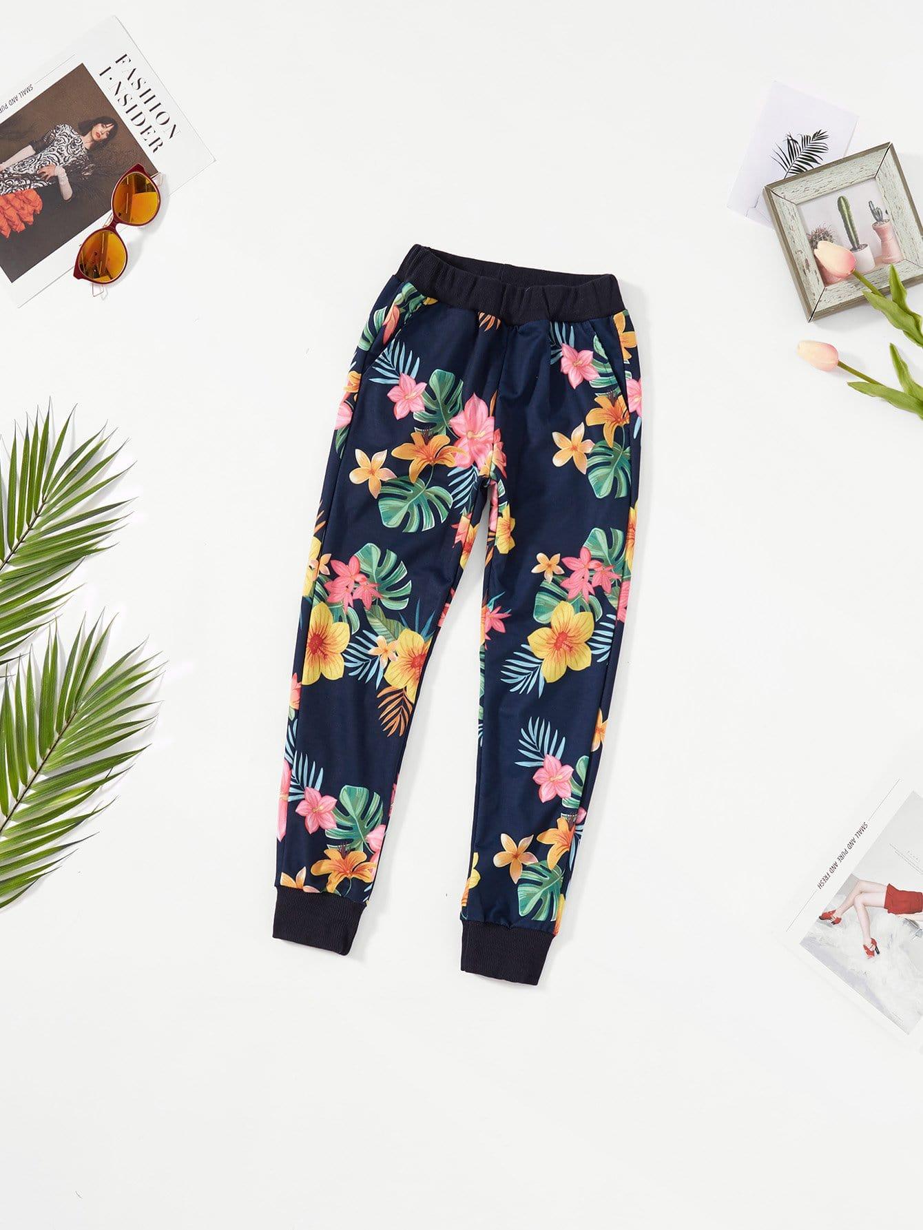 Купить Ситцевые спортивные брюки с басоном эластичным для девочки, null, SheIn