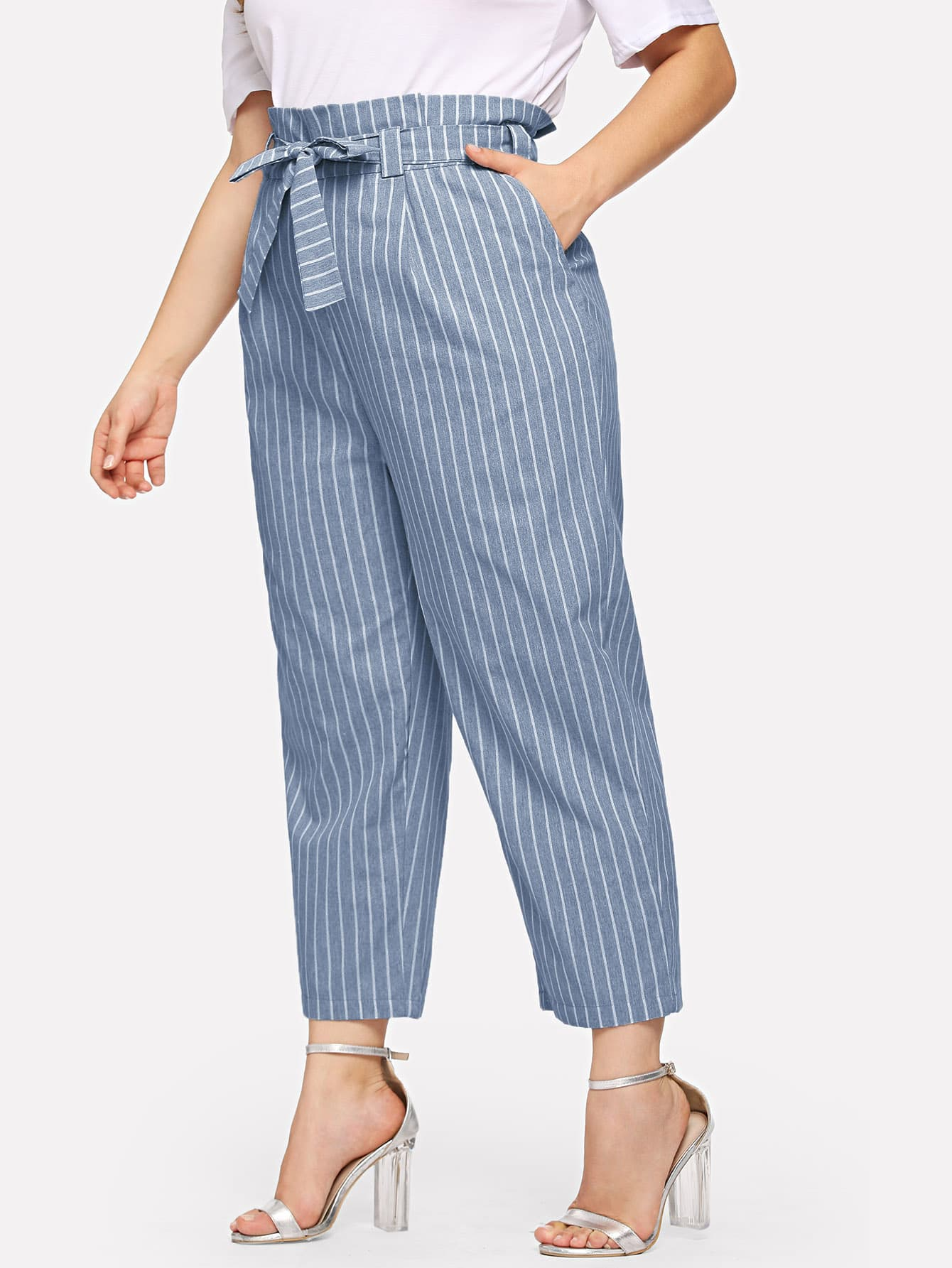 цена Plus Vertical-Stripe Peg Leg Pants