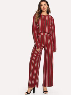 Vertical Striped Top & Wide Leg Pants Set