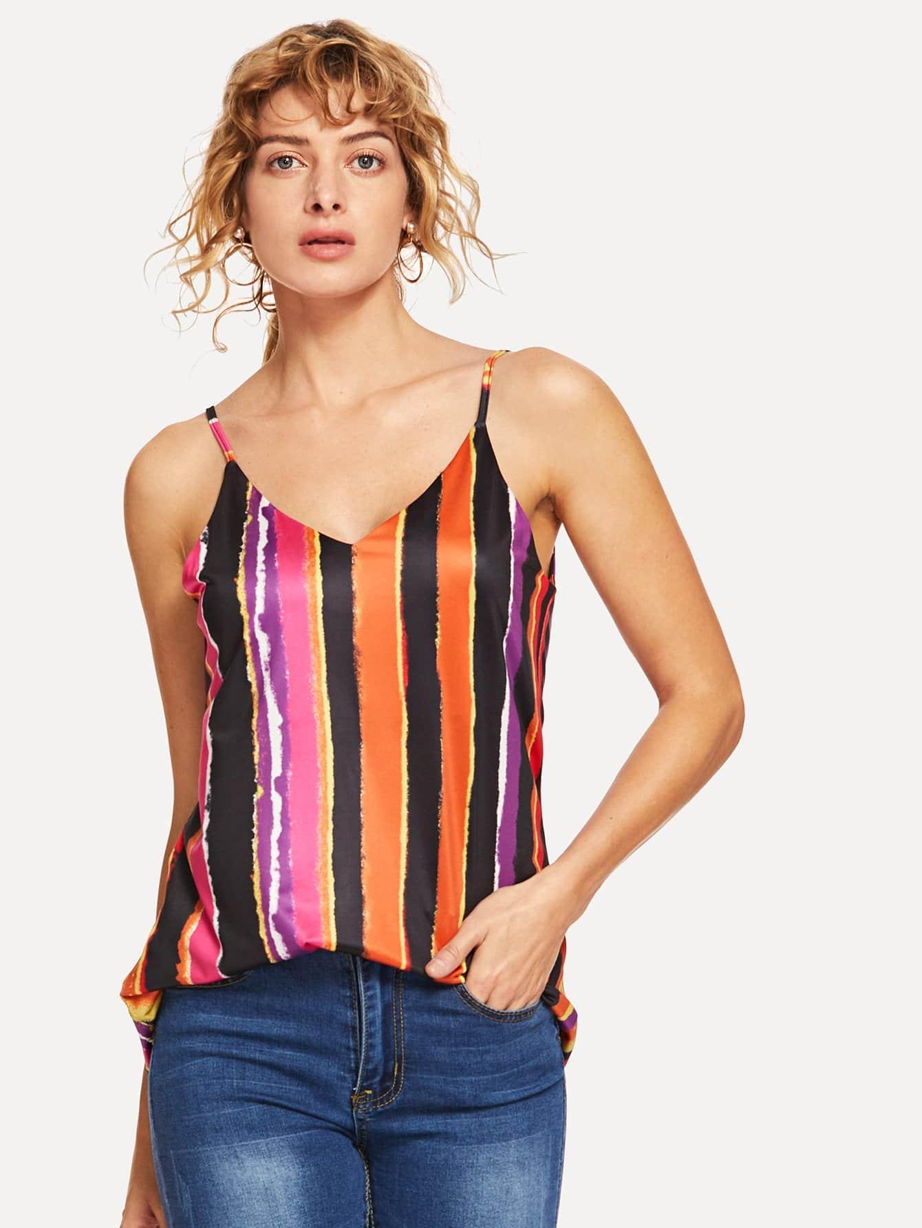Купить Красочный полосатый Cami Top, Masha, SheIn