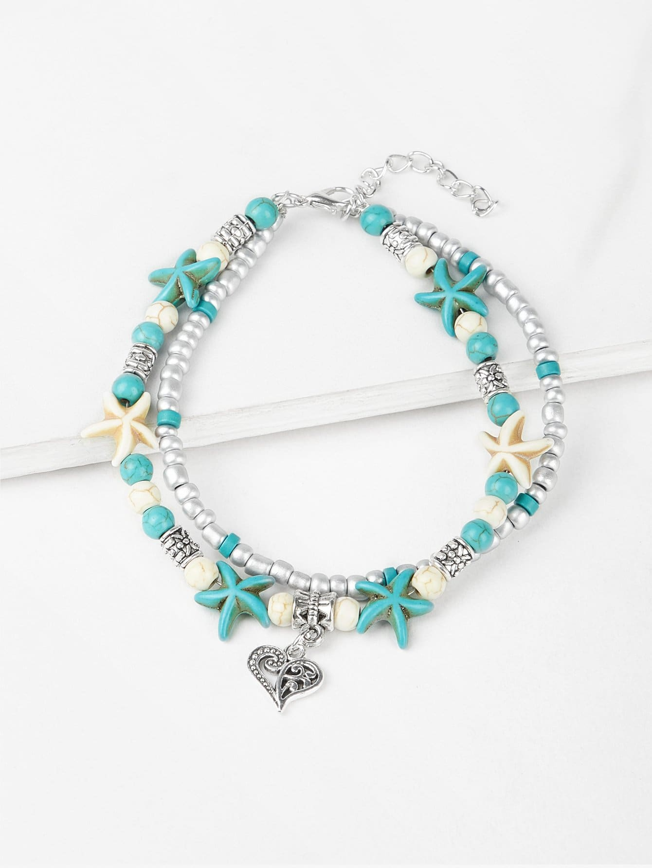 Starfish Design Beaded Layered Anklet