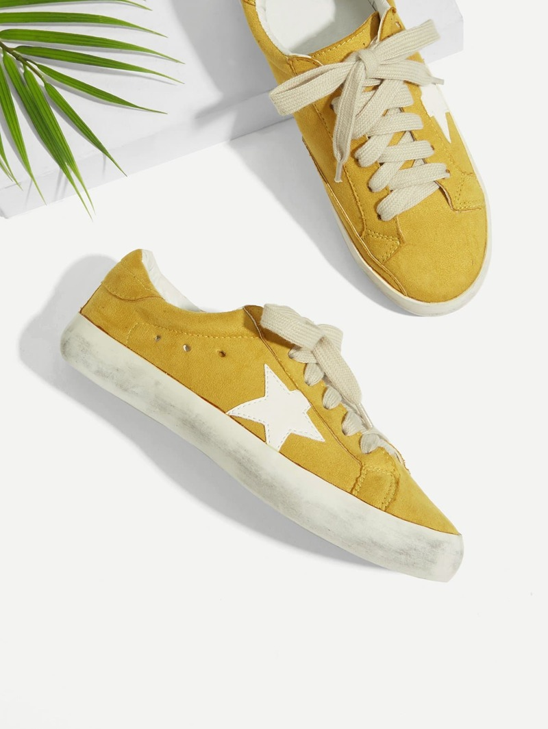 Star Patch Lace Up Splice Sneakers, Yellow