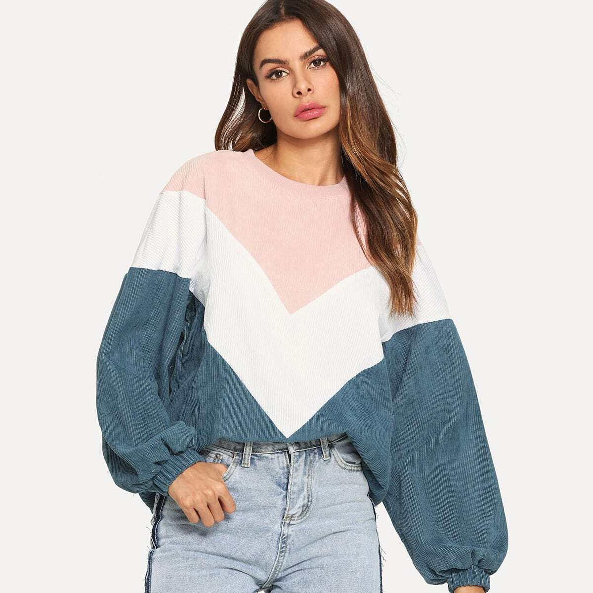 Kleurblok rifbluwelen sweatshirt
