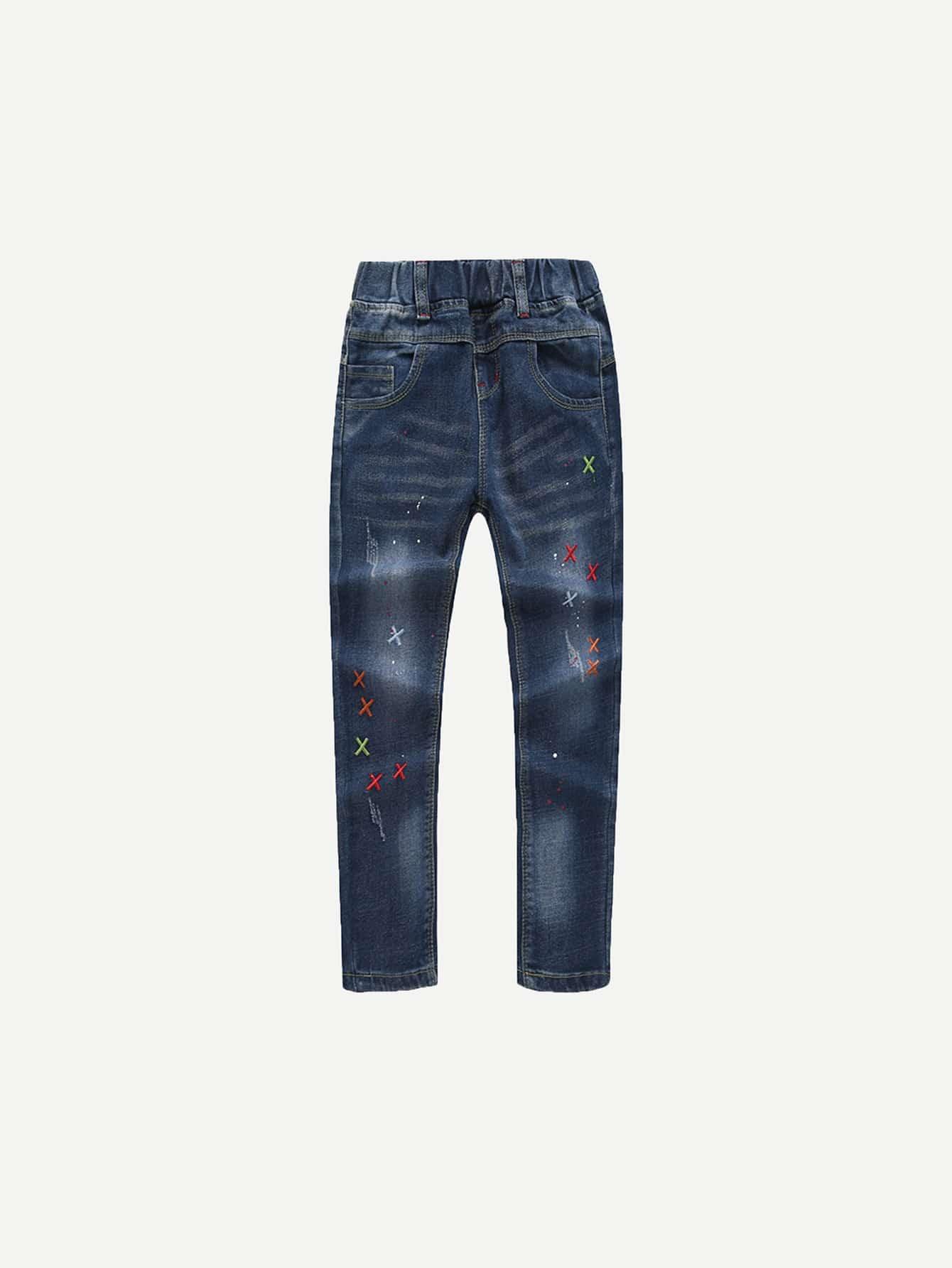 Купить С вышивкой Темно синий Джинсовые изделия для девочек, null, SheIn