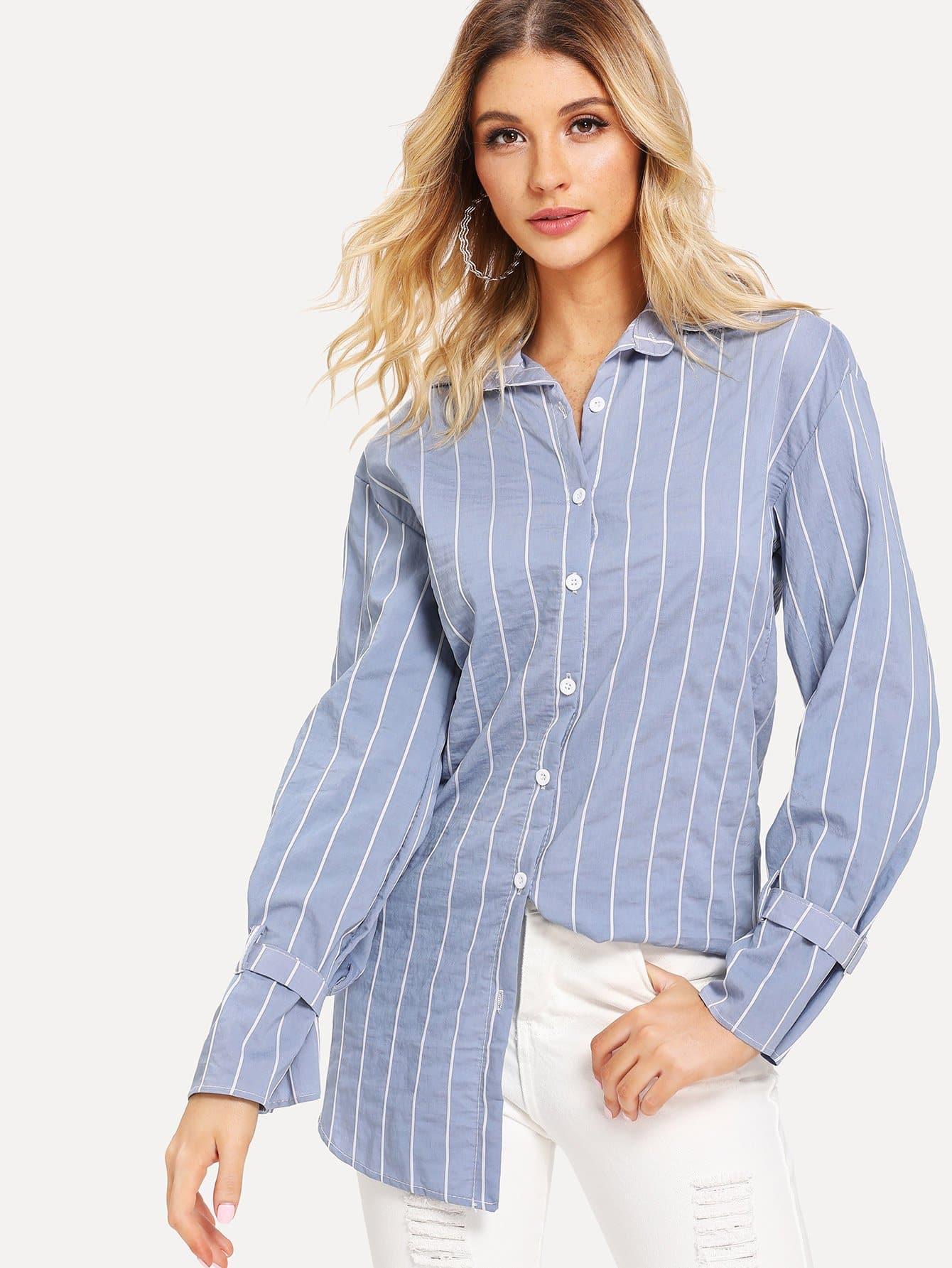 Купить Полосатая рубашка и с украшением пуговицы перед одежды, null, SheIn