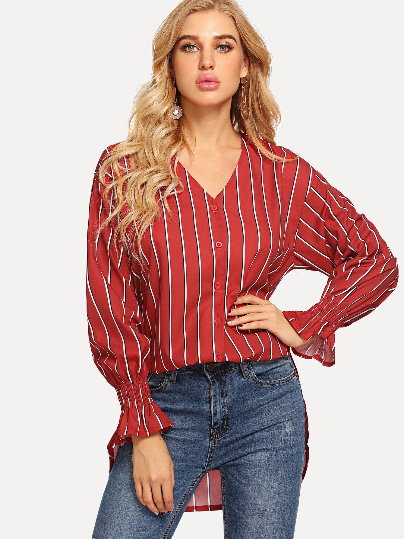 Купить Дугообразная полосатая длинная рубашка, SUSU, SheIn