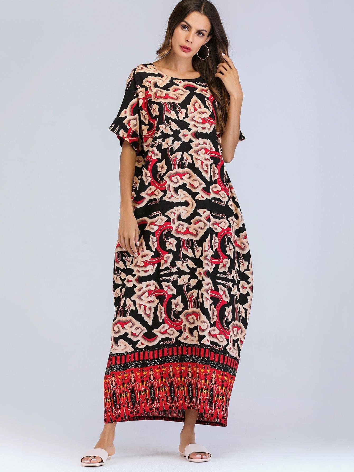 Длинное платье и с рисунками живописи, null, SheIn  - купить со скидкой