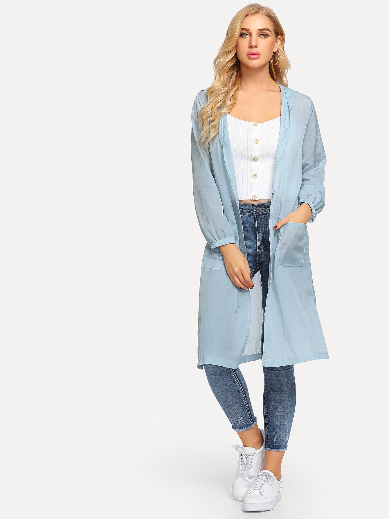 Купить Куртка с капюшоном и с рисунками цветов вышивки, SUSU, SheIn