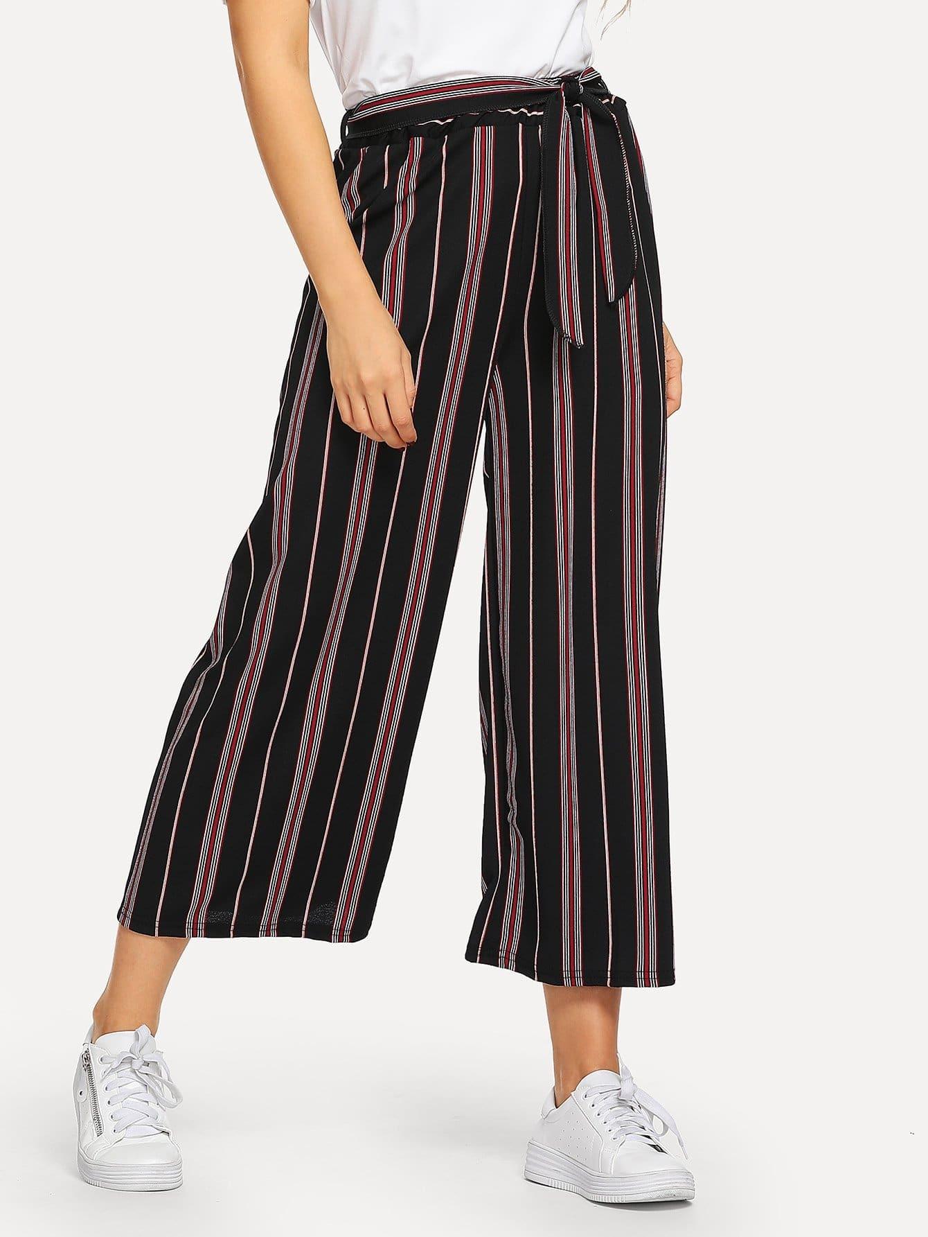 Купить Полосатые широкие ножные штаны и с поясом, SUSU, SheIn