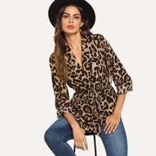 Shawl Collar Belted Leopard Blazer