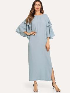 Ruffle Bell Sleeve Slit Dress