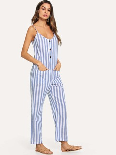 Button and Pocket Front Striped Cami Jumpsuit