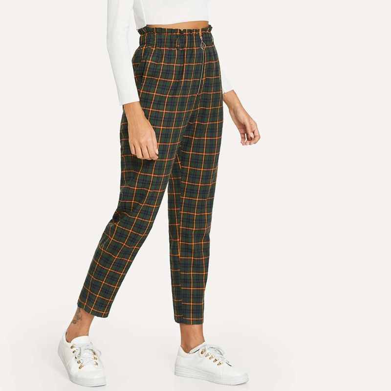 Exposed Zip Fly Plaid Peg Pants, Green