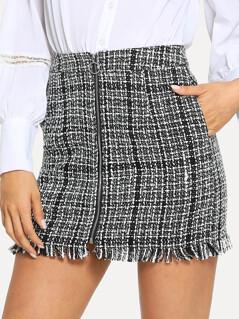 Zip Front Frayed Tweed Skirt
