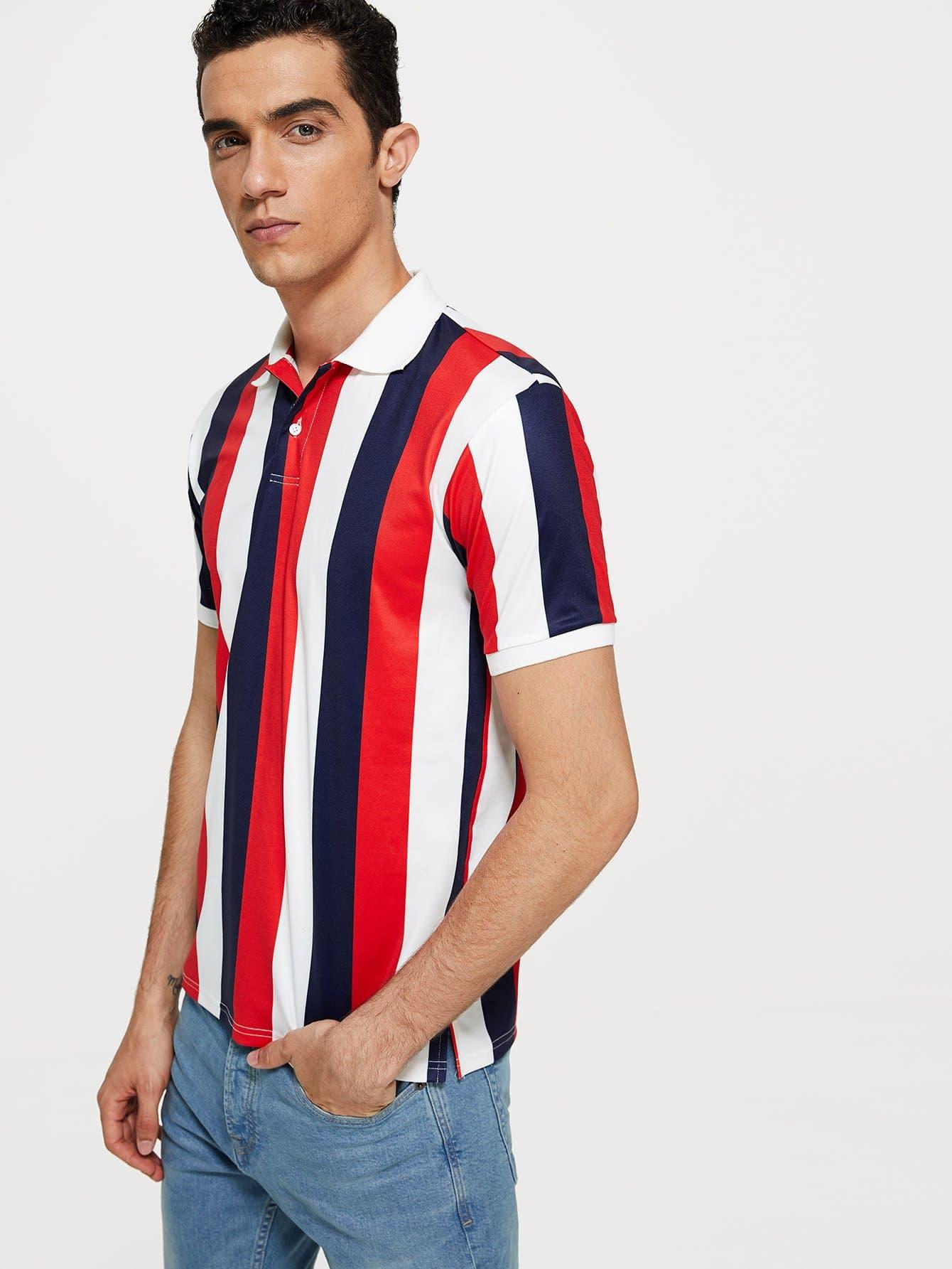 Купить Мужская полосатая рубашка поло, Lucas, SheIn