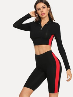 Contrast Panel Crop Top & Legging Shorts Set