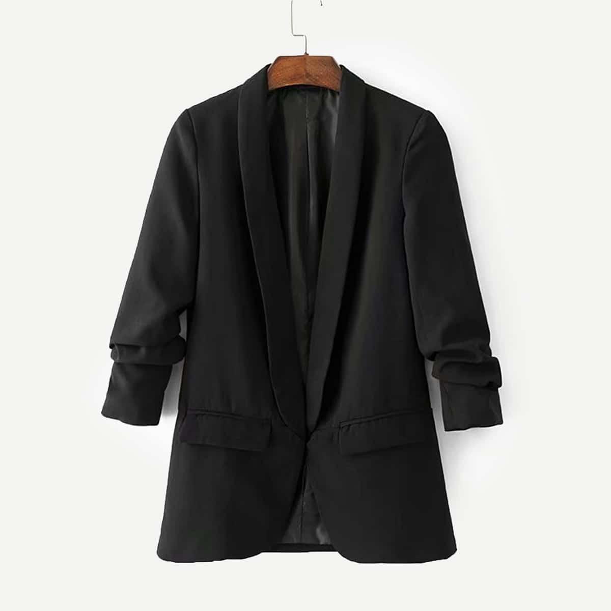 Подходящий пиджак и с широким воротником до плеч от SHEIN