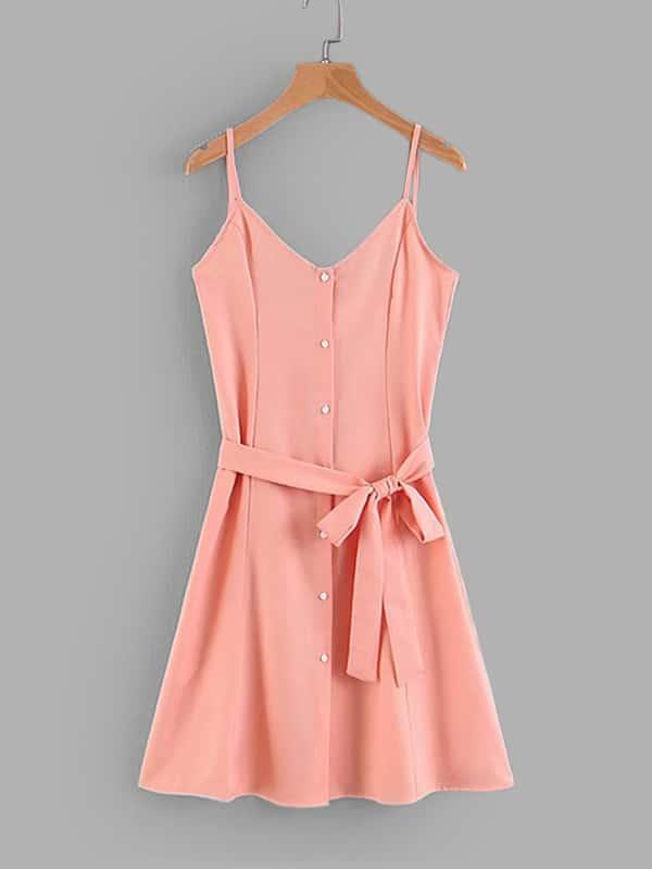 Купить Простое платье на бретелях и с украшением пуговицы и пояса, null, SheIn