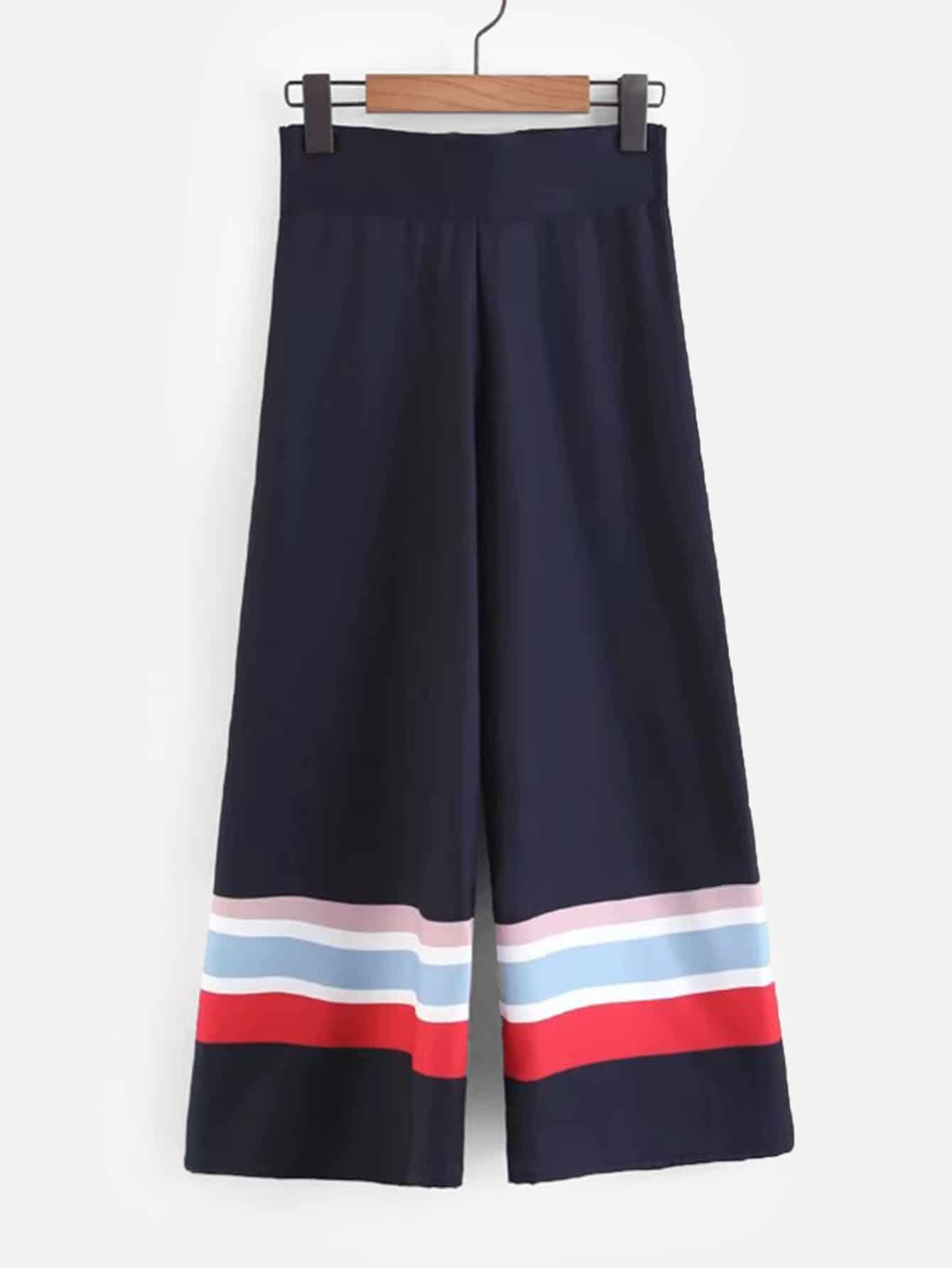 Купить Широкие ножные штаны и со симметрическими полосами, null, SheIn