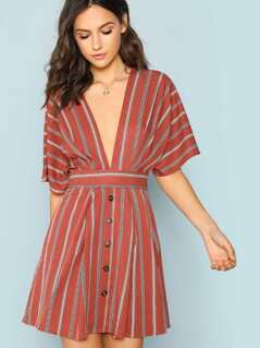 Deep V Waist Tie Striped Dress