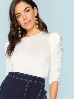 Ruched Puff Sleeve Solid Top