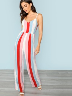 Bow Back Striped Jumpsuit