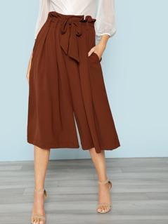 Paper Bag Waist Wide Leg Pant