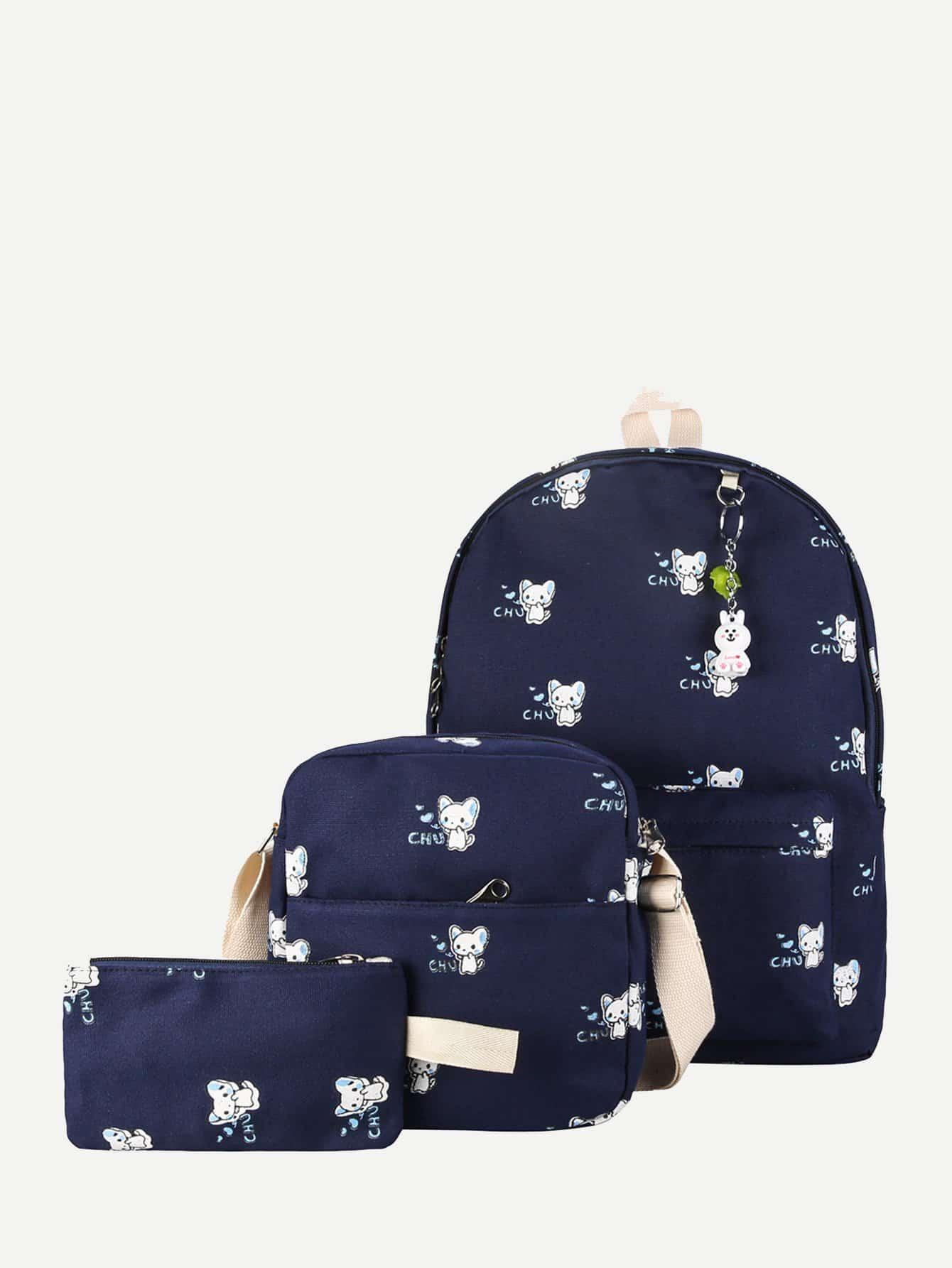 Рюкзак с рисунками животных и с внутренной сумкой 3 шт, null, SheIn  - купить со скидкой