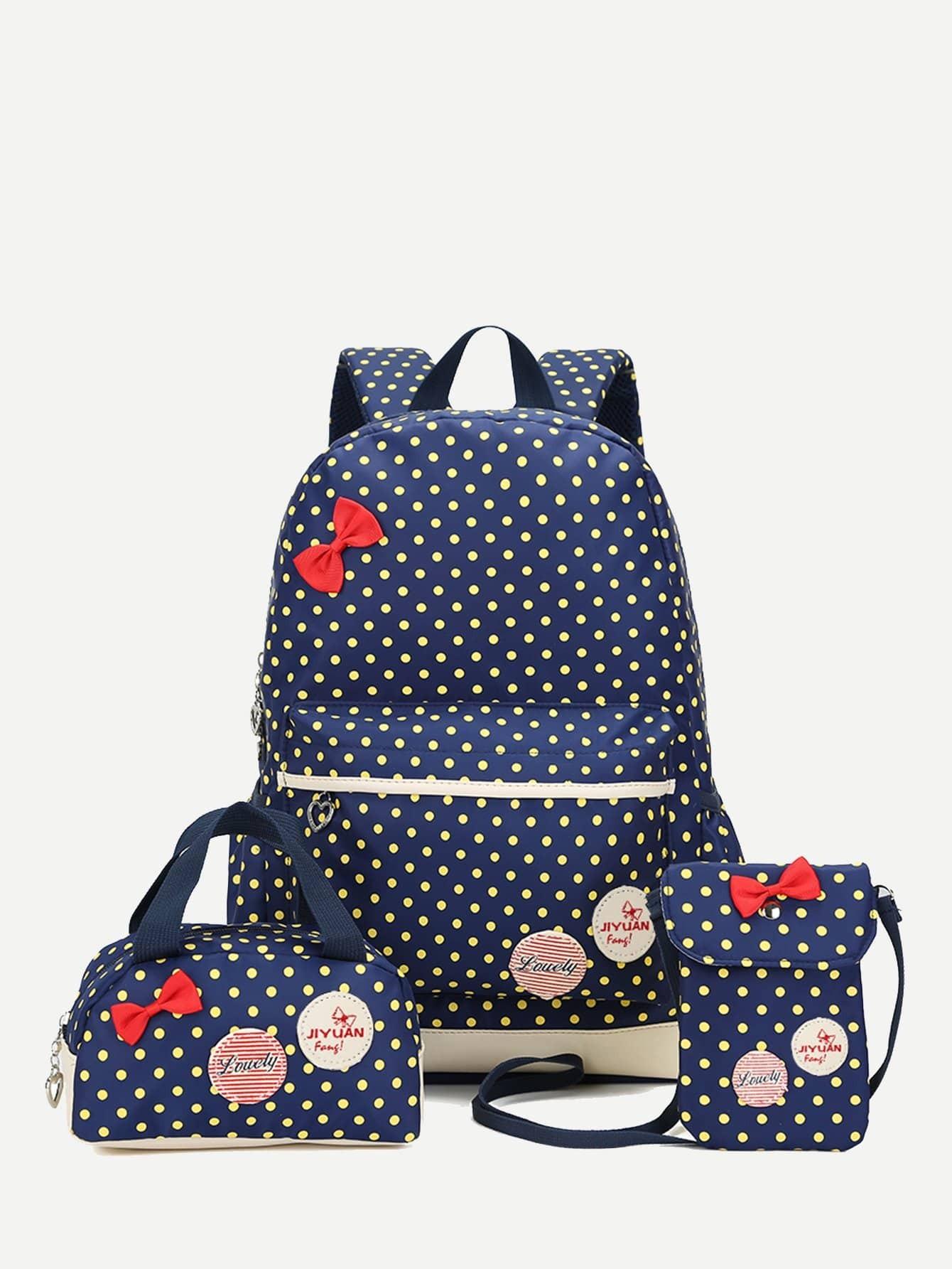 Рюкзак и с рисунками точки польги и с маленькой сумкой 3 шт, null, SheIn  - купить со скидкой