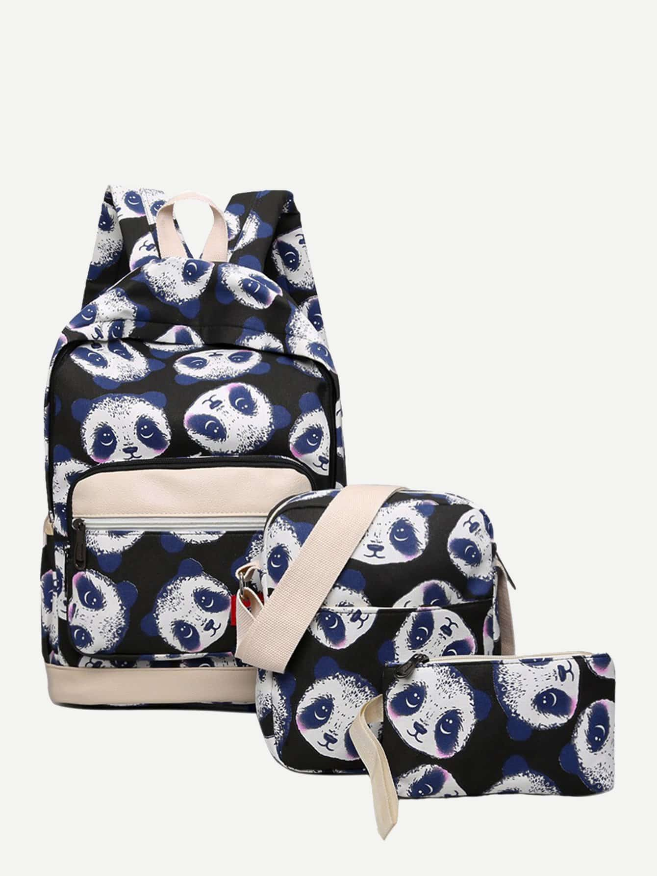 Купить Рюкзак и с рисунком панды и с маленькой сумкой 3 шт, null, SheIn