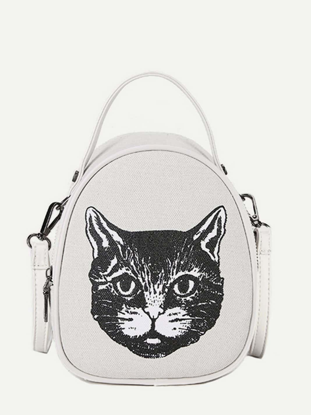 Cat Print Canvas Backpack