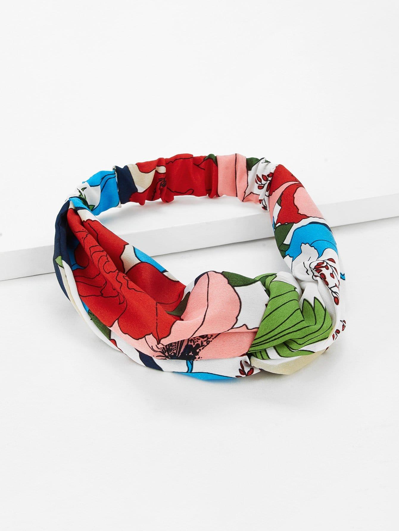 Girls Flower Print Twist Headband