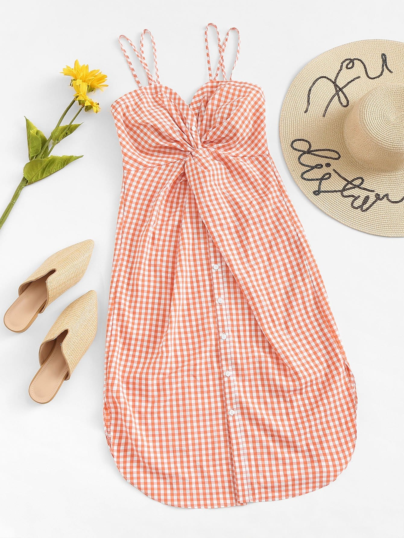 Twist Front Checked Cami Dress
