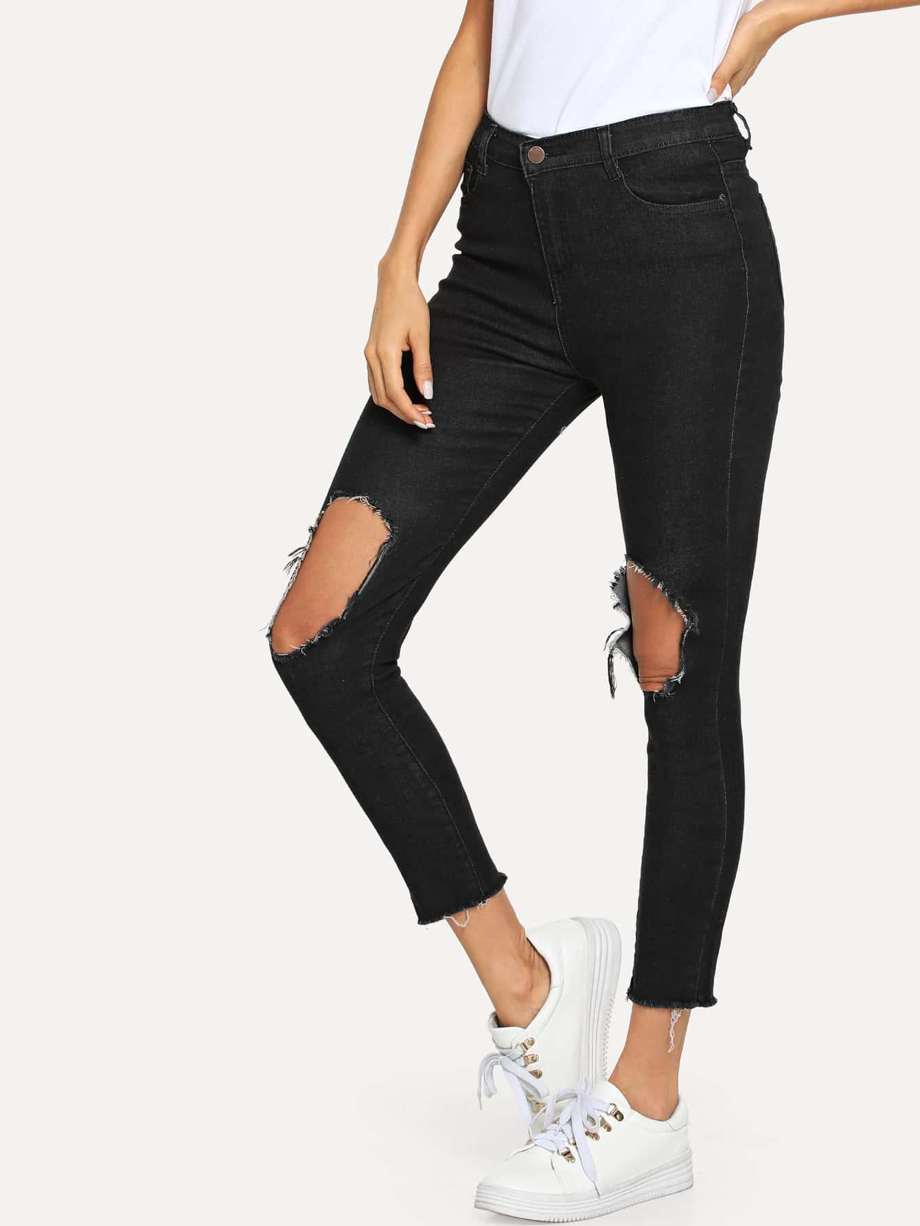 Ripped Knee Raw Hem Jeans