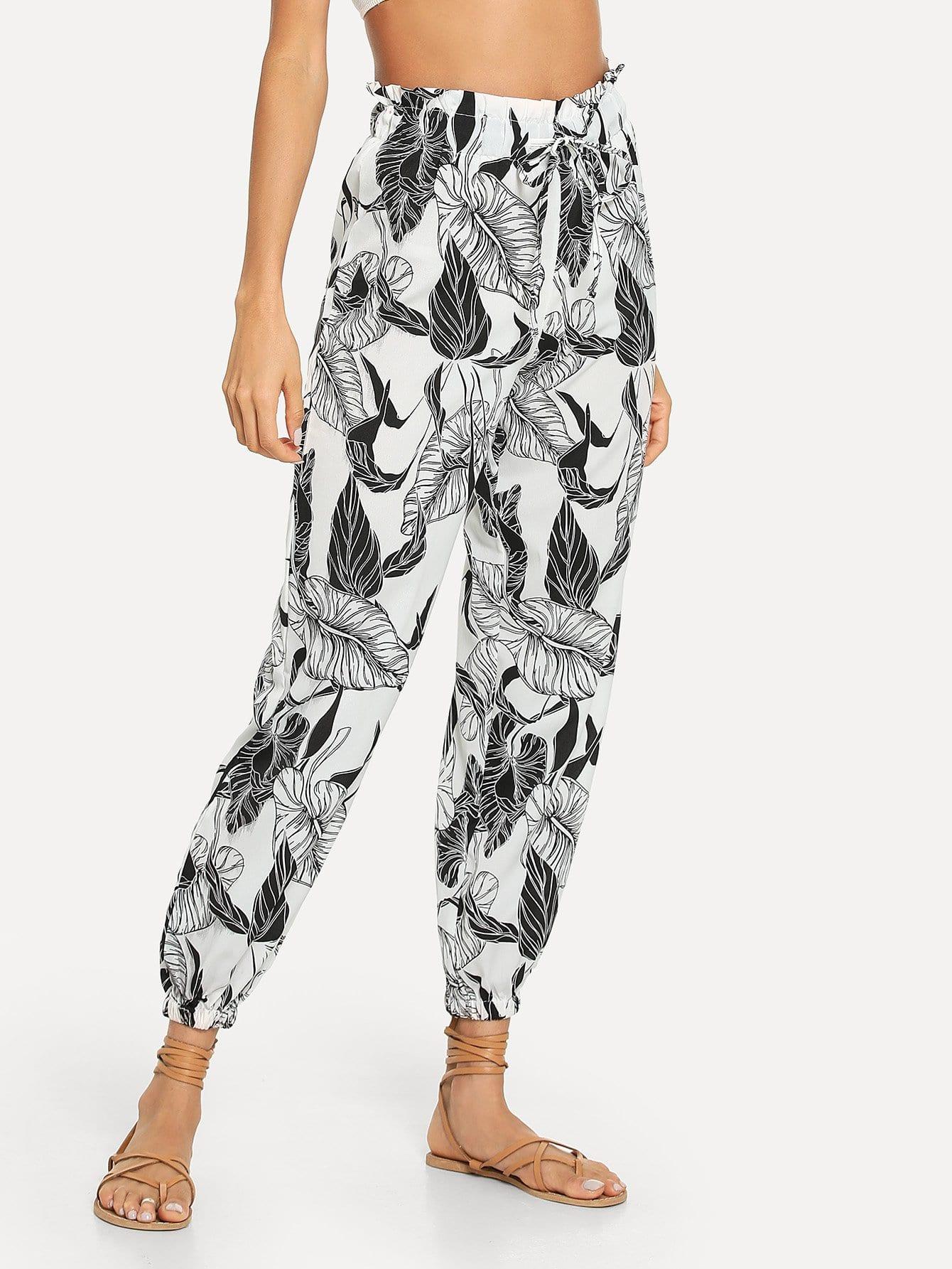 Drawstring Waist Leaf Print Pants
