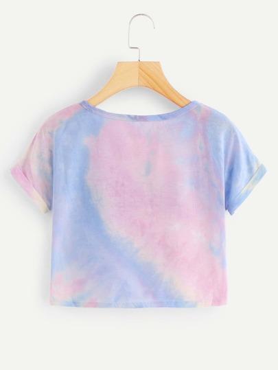 Romwe / Cuffed Sleeve Crop Pastel Tie Dye Tee