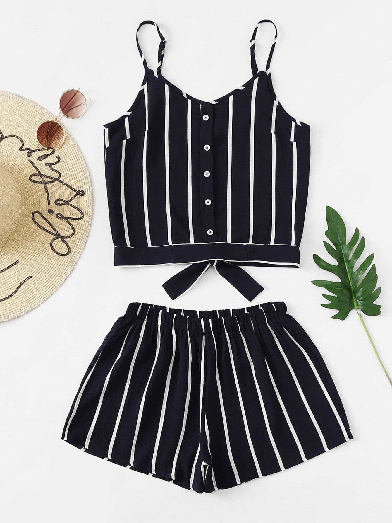 Single Breasted Striped Cami With Shorts
