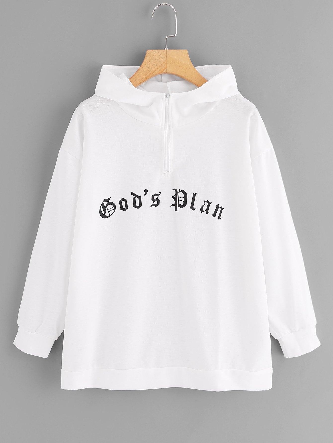 Купить Повседневный Текст на молнии Пуловеры Белый Свитшоты, null, SheIn