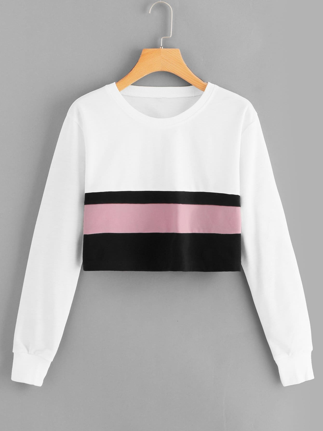 Повседневный Контрастный цвет Пуловеры Белый Свитшоты, null, SheIn  - купить со скидкой