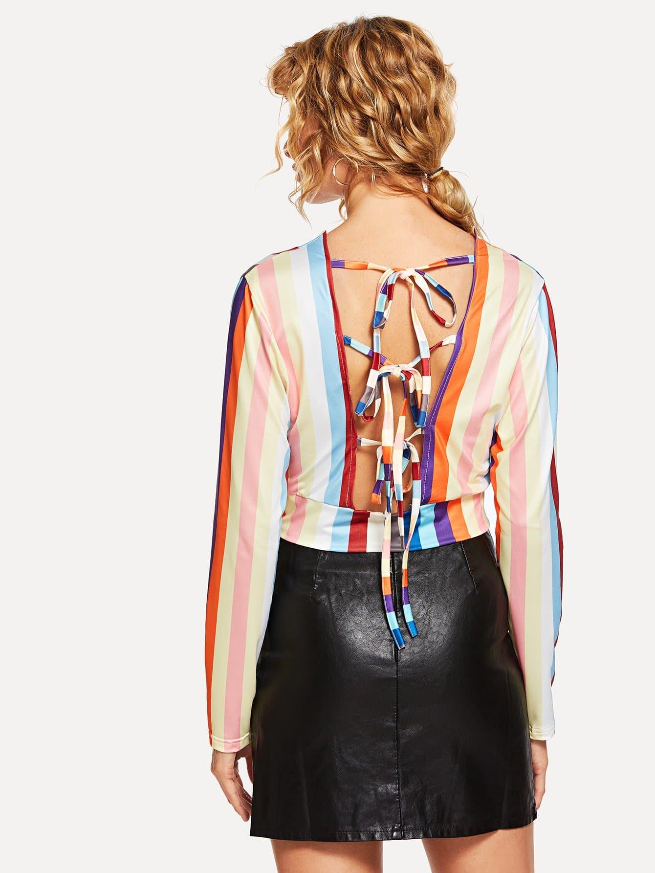 Купить Полосатая рубашка и с низким V воротником и с украшением банта сзади одежды, Masha, SheIn