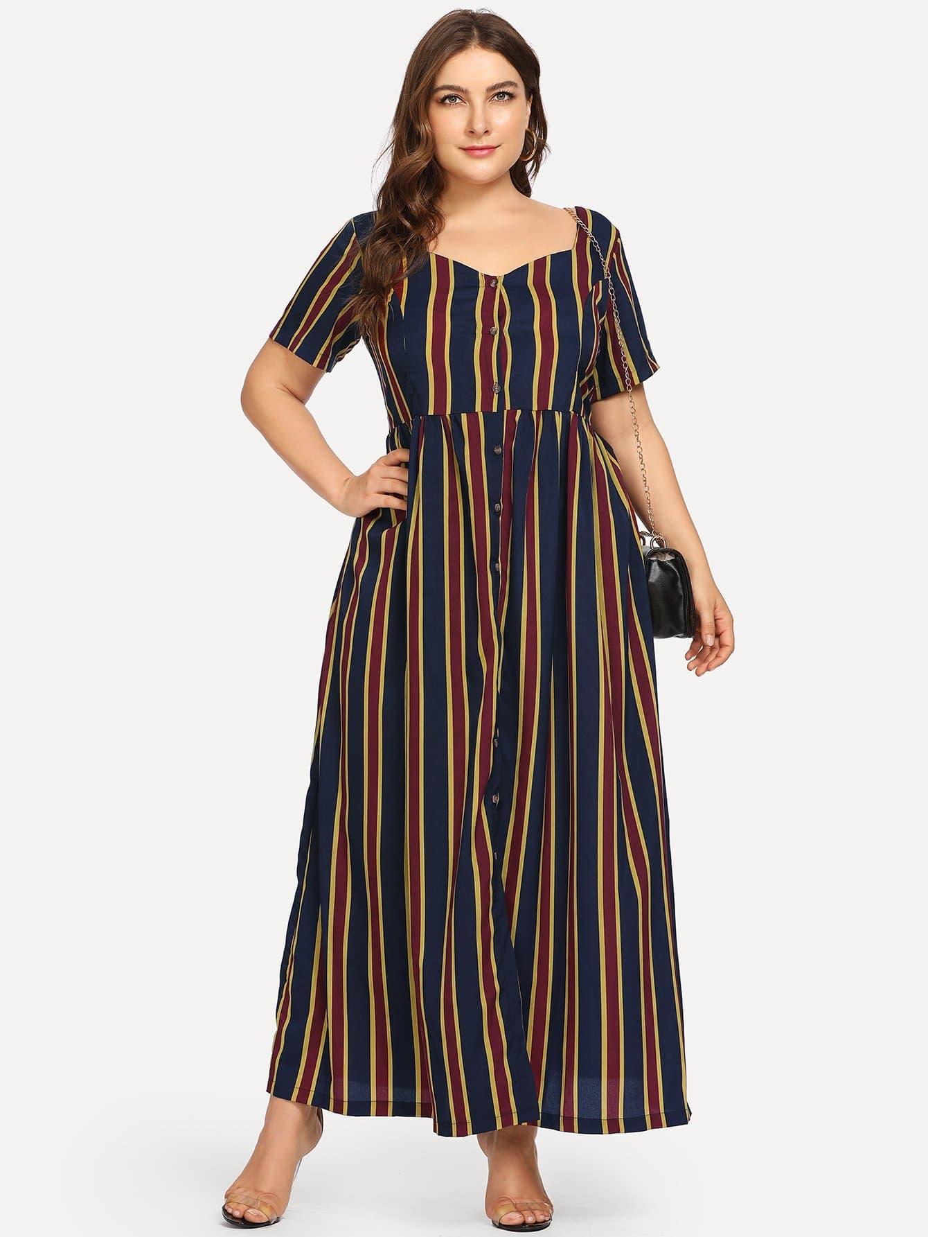 Купить Повседневные Полосатый Пуговица Тёмно-синие Платья большого размера, Franziska, SheIn