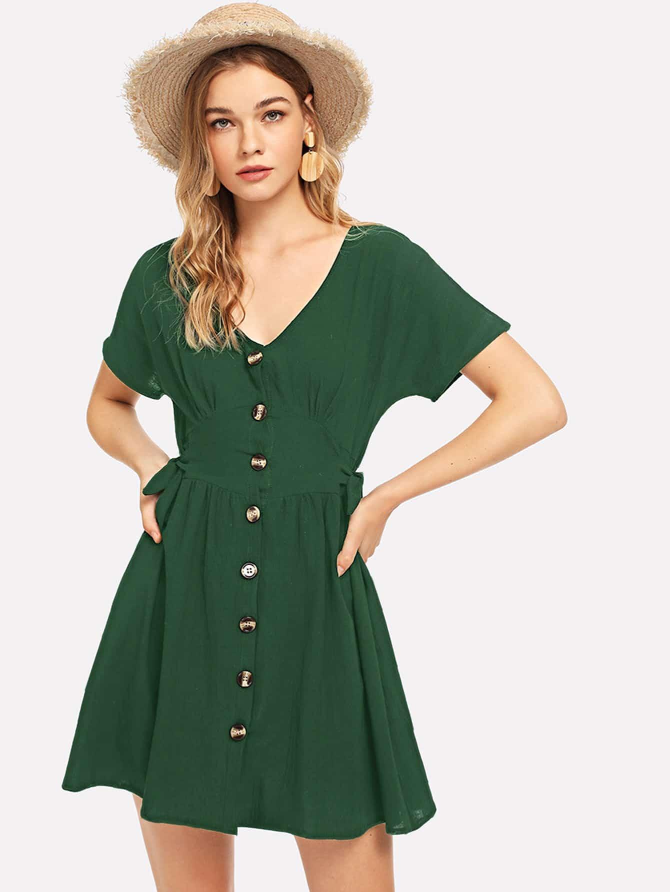 Купить Однобортное платье и с украшением банта по обе стороны, Teresa, SheIn