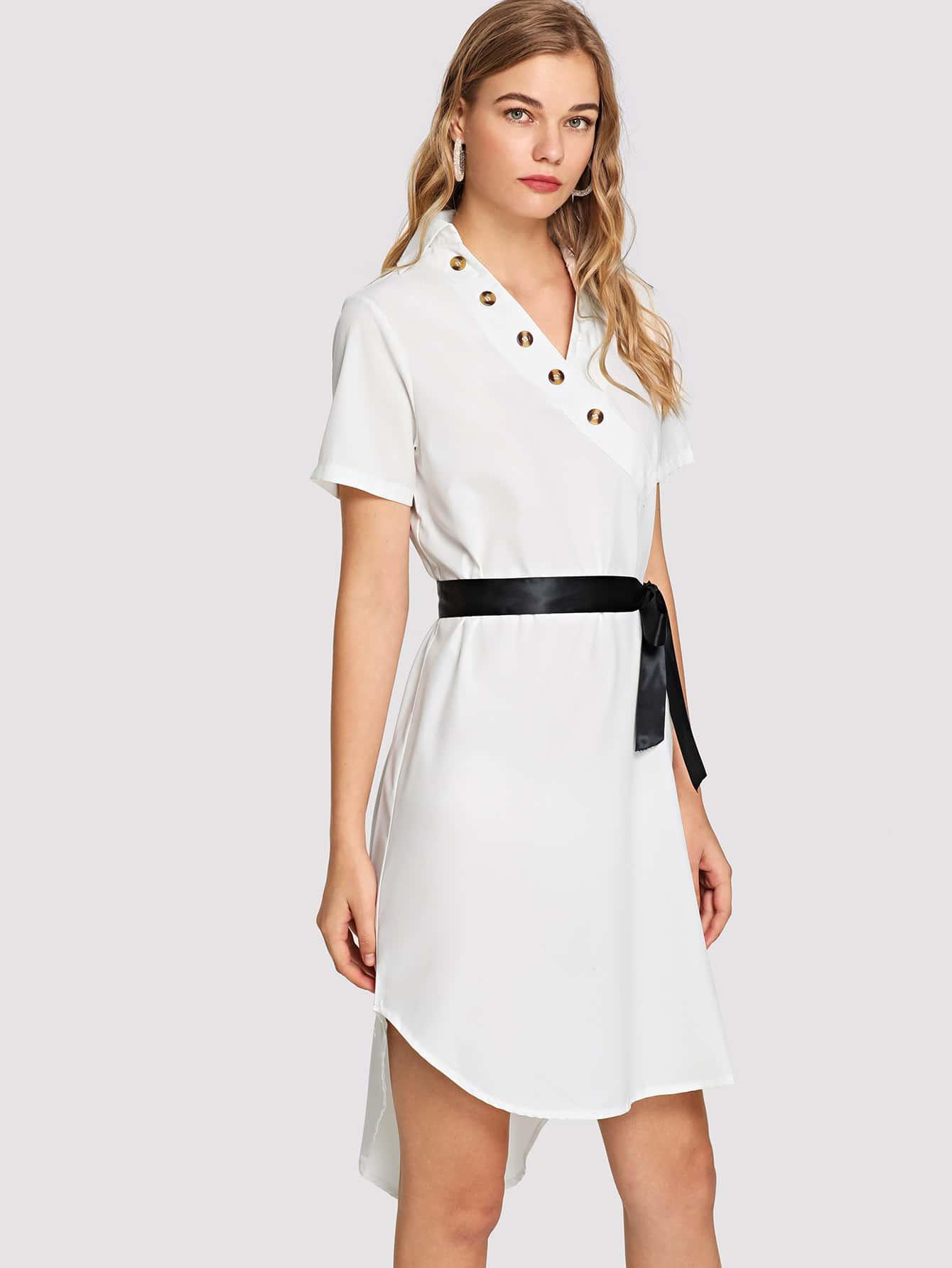 Купить Однобортное платье и с поясом и Dip подол, Teresa, SheIn