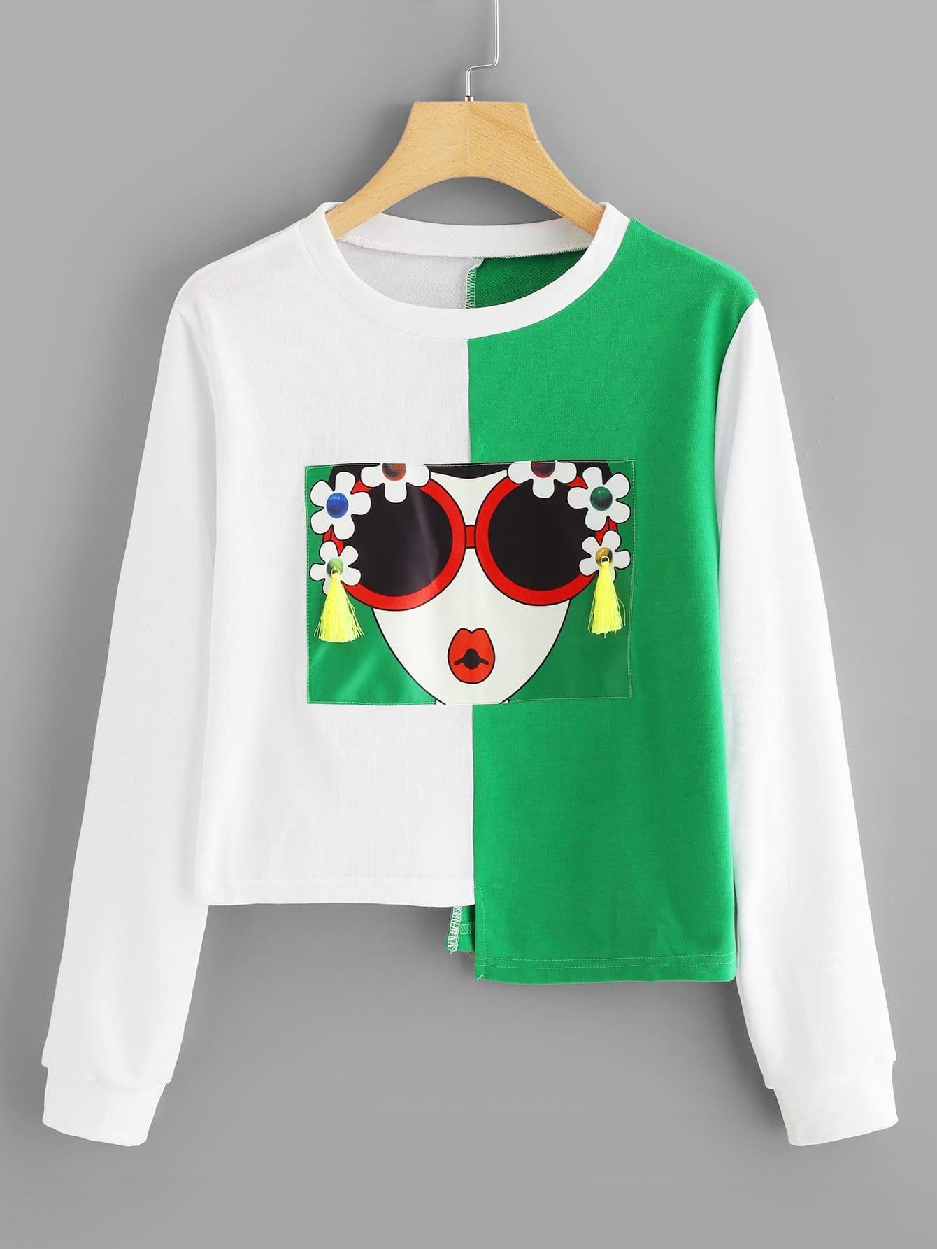 Купить Повседневный Объект Контрастный цвет Пуловеры Многоцветный Свитшоты, null, SheIn